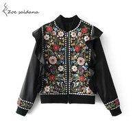 Zoe Saldana 2017 Women Chic Vintage Floral Embroidered Ruffles Beading Basic Jacket Female Retro Ethnic Black