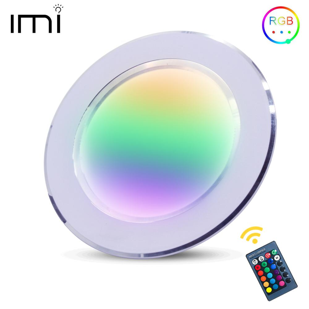LED Round RGB Downlight Recessed Lamp 5W 10W Remote Control Multiple Model Colors AC110V 240V Indoor Ambient Light Party Bar KTV