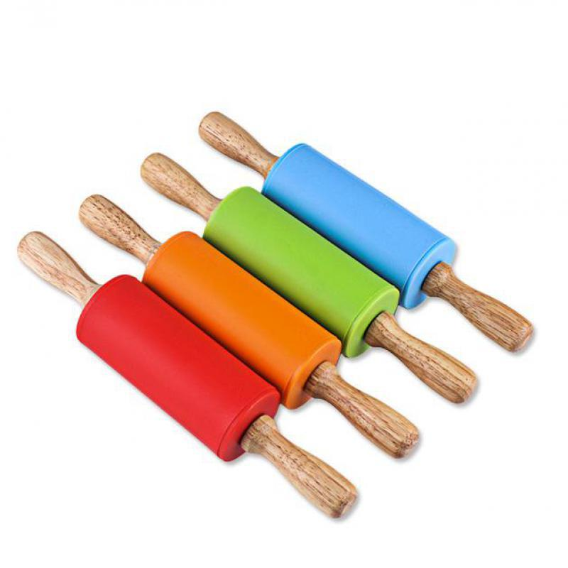 Non Stick Silicone Rolling Pin Wood Grip Fondant Pastry