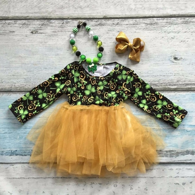 baby girls St.Martin's day Shamrocks print cotton boutique cute skirt dress clothes green kid spring wear matching accessories