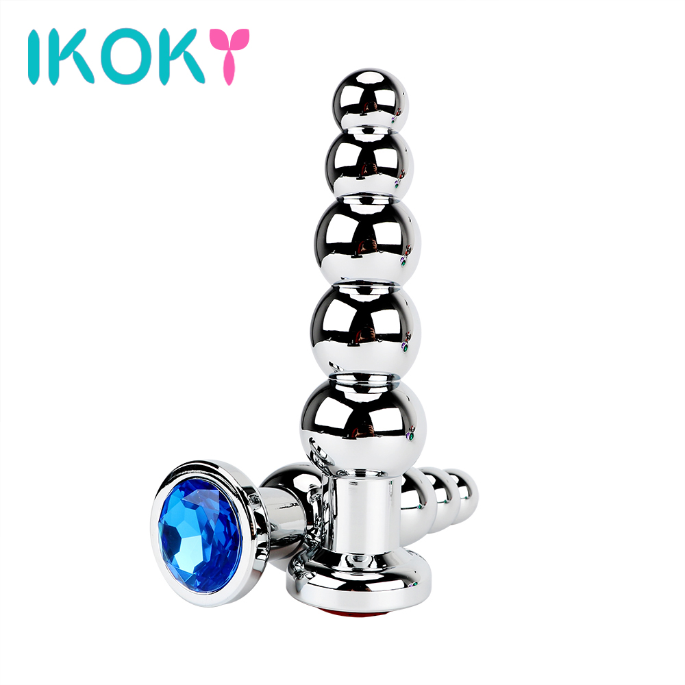 IKOKY Stainless Steel Prostate Massage Butt Plug Heavy Anus Beads with 5 Balls Sex Toys for Men and Women Gay Metal Anal Plugs naturalcure cure prostatitis caps ules cure prostate diseases relieve prostate pain and help solve urination problems