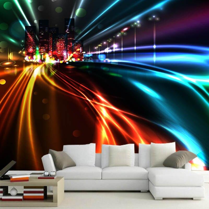 Custom 3d Mural City Night View Mural Living Room TV