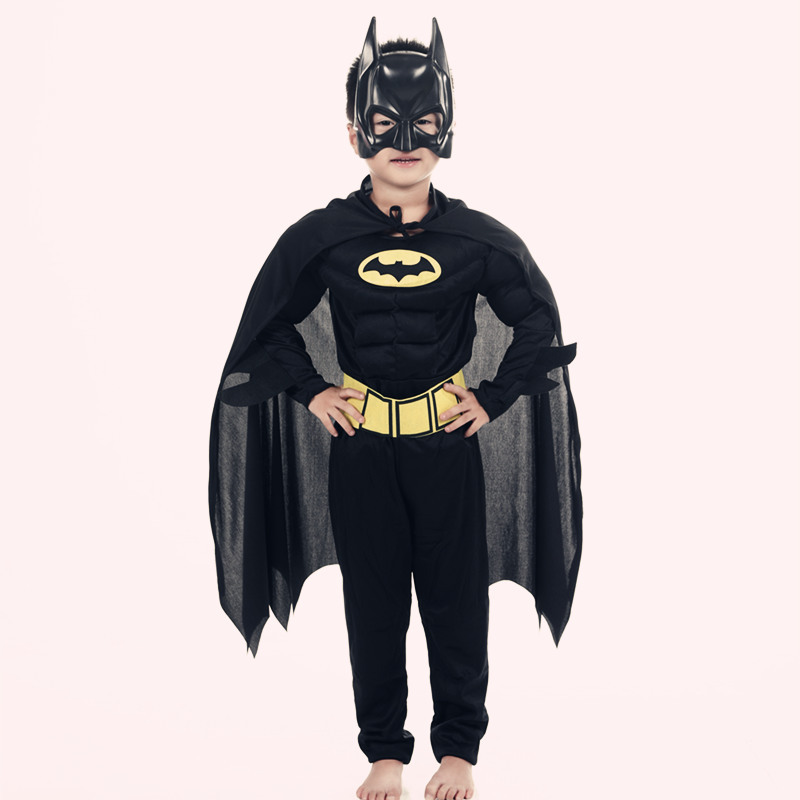 Children Vampire Muscle Batman Costumes & Masks Cape Boy Superhero Cosplay Halloween Masquerade Party Superman Costume