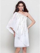 Weiß Formale Partei Kleid Eine Schulter Chiffon Schweres Wulstiges cocktail kleider Benutzerdefinierte Größe