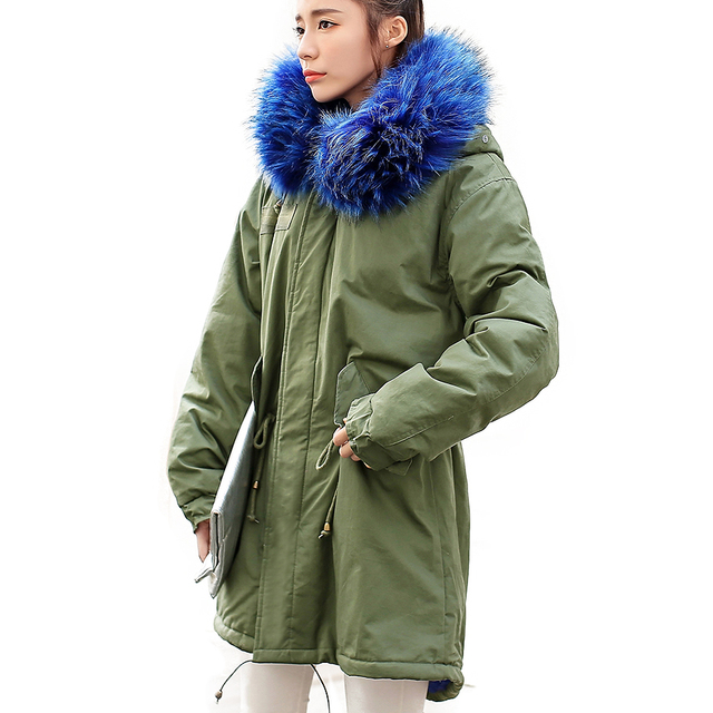 Cheap Long Coat Jacket Women Army green Large color Raccoon Fur Hooded coat parkas outwear detachable lining winter jacket  #E191