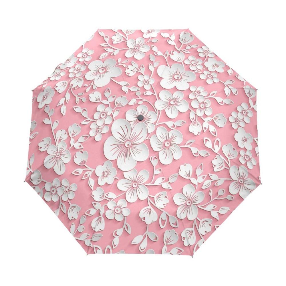 Tre Folding 3D Floral Umbrella Kvinder Sol Regn Automatisk Windproof Paraply Kvinder Solcreme Anti UV Brand Paraplyer
