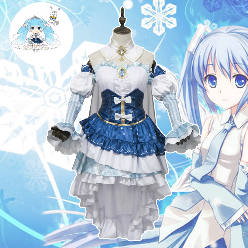 2019 New Beautiful Vocaloid Hatsune Miku Cosplay Costume Ice And Snow Miku Princess Dress Full Set for Girl Women Cos S to XL