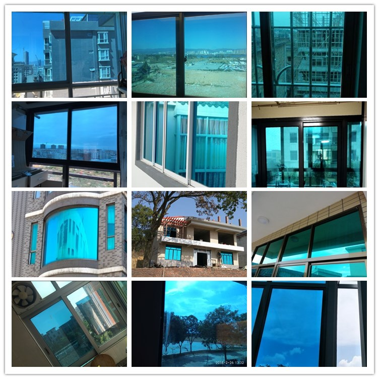 30 200cm Blue Silver Solar Mirrored Heat Control Window Film Reflective One Way Privacy Decoration Film For Home Office Building in Decorative Films from Home Garden