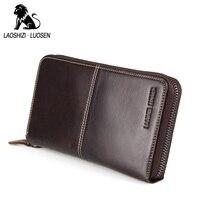 LAOSHIZI LUOSEN Genuine Leather Men RFID Credit Card Wallet Vintage Cowhide Long Zipper Business Card Holder Purse Card Case
