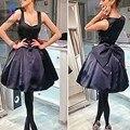 Vintage Cuello Cuadrado Corto Bowknot Vestidos De Cóctel Negro Chico Vestido de Regreso A Casa