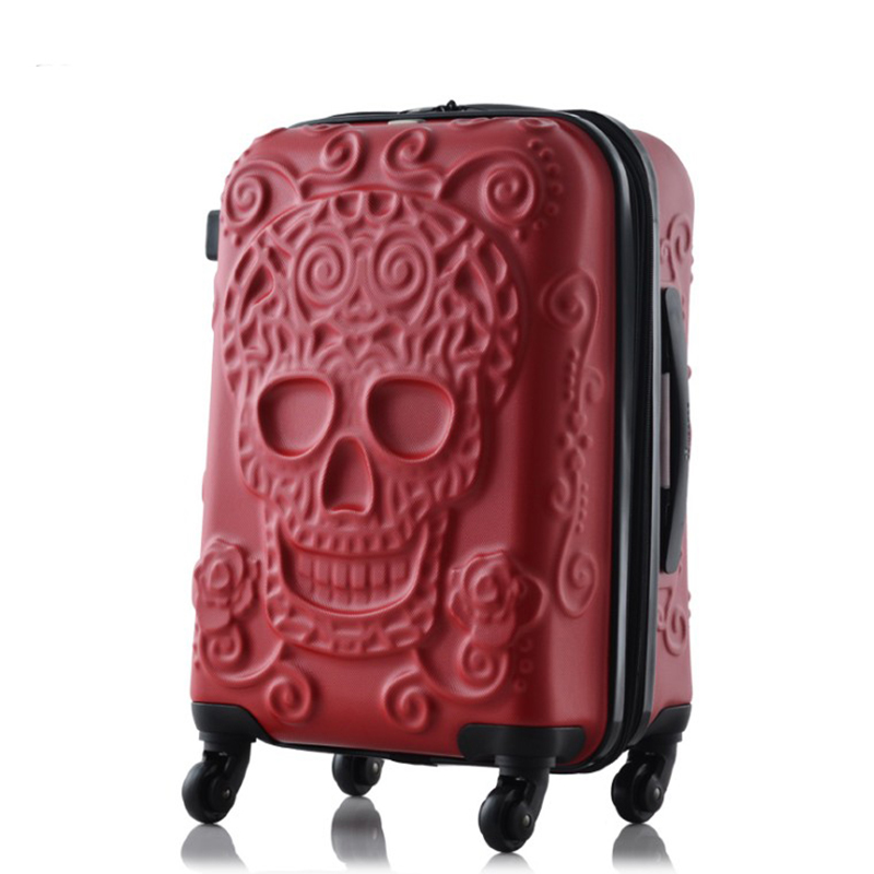 "TRAVEL TALE 2019 ใหม่ skull กระเป๋าเดินทาง 20 ""24"" 28 ""พกพา kinder รถเข็นกระเป๋าเดินทางบนล้อ-ใน กระเป๋าเดินทางแบบลาก จาก สัมภาระและกระเป๋า บน   2"