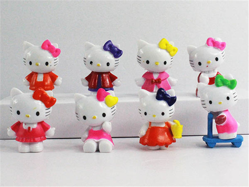 Hello Kitty Sport Vesion 8 PCS Action Figrue Cake Topper Figurine Kids Gift Toy