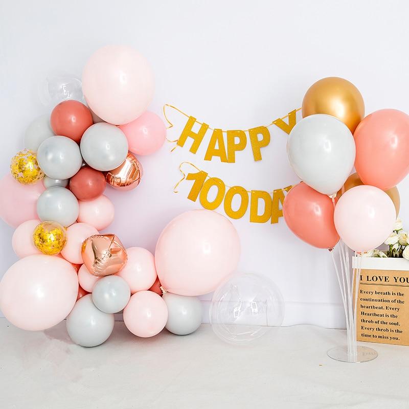 OERJU 5x4ft Happy Birthday Backdrop Pink Balloons Glittering Dots Orange Halos Photography Background New Born Baby Shower Bridal Shower Romantic Anniversary Wallpaper Girls Portrait Photo Props