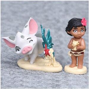 Image 4 - Disney 6pcs/set 6 12cm Cartoon Movie Vaiana Moana Princess Maui Chief Tui Tala Heihei Pua Action Figure Decoration Toys For Kids