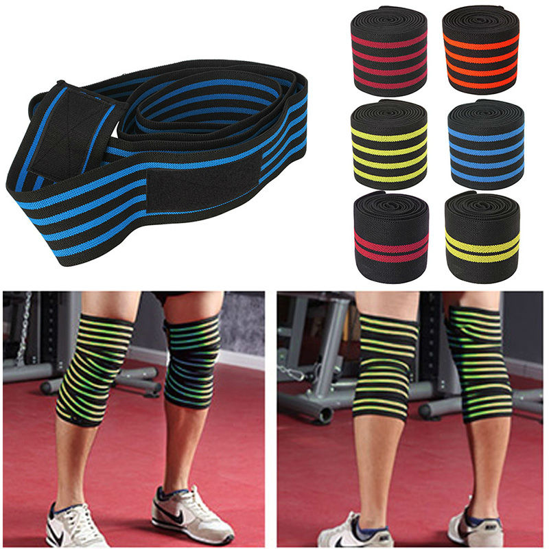 1pc 200*8CM Knee Wraps Men's Fitness Weight Lifting Sports Nylon Elastic Knee Bandages Squats Training Equipment Accessories