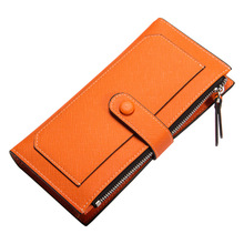 Multicolor Lady's Long Wallet Pure Color Pu Purse Zip Fastener Cell Phone Bag Bill Clip Haulage Motor Clutch Bag