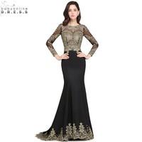 Robe de Soiree Longue Sexy Open Back Long Sleeve Mermaid Lace Black Evening Dress Cheap Evening Gown Vestido de Festa