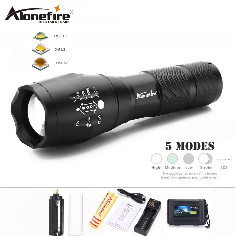 AloneFire E17 CREE XP-L V6 Ultra bright 10W LED Flashlight Zoom T6 lanterna torch Zoomable waterproof 18650 Rechargeable battery цена
