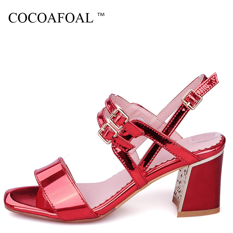 COCOAFOAL Woamn Silvery Heel Height Sandals Plus Size 33 - 43 Fashion Red Blue Pink Wedding Shoes Sexy Patent Leather Sandals cocoafoal woamn patent leather sandals fashion heel height black white wedding shoes sexy genuine leather pointed toe sandals