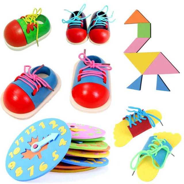 Venta caliente niños Juguetes DIY Eva reloj aprendizaje educación moda Niño cordones zapatos Montessori niños juguetes de madera