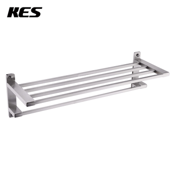 "KES SUS304 Stainless Steel 22"" Hotel Towel Rack Bathroom Shelf  Towel Bar Wall Mount Space Saving Brushed Finish, A2410-2"