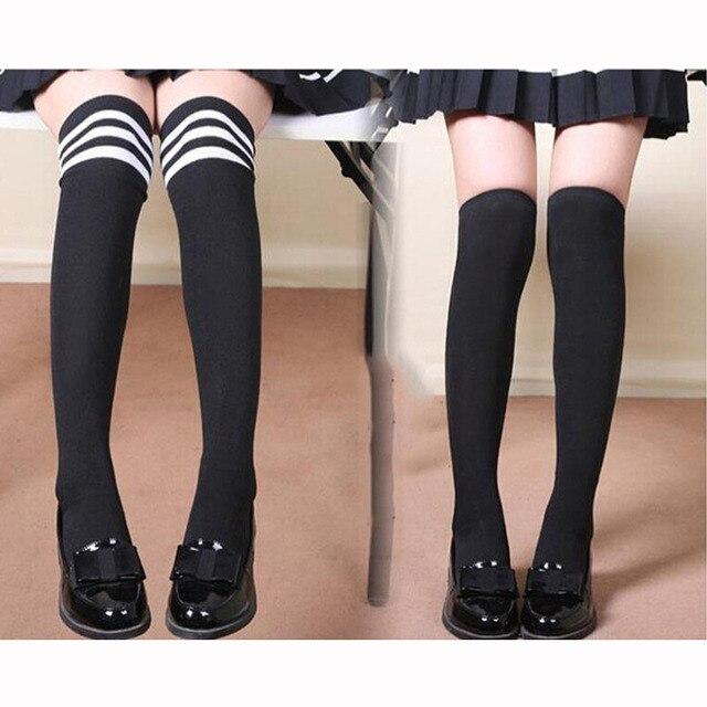 Хорошее качество женские высокие над гетры высокие чулки непрозрачные тёплые японская школьная студент черный в полоску длинные носки