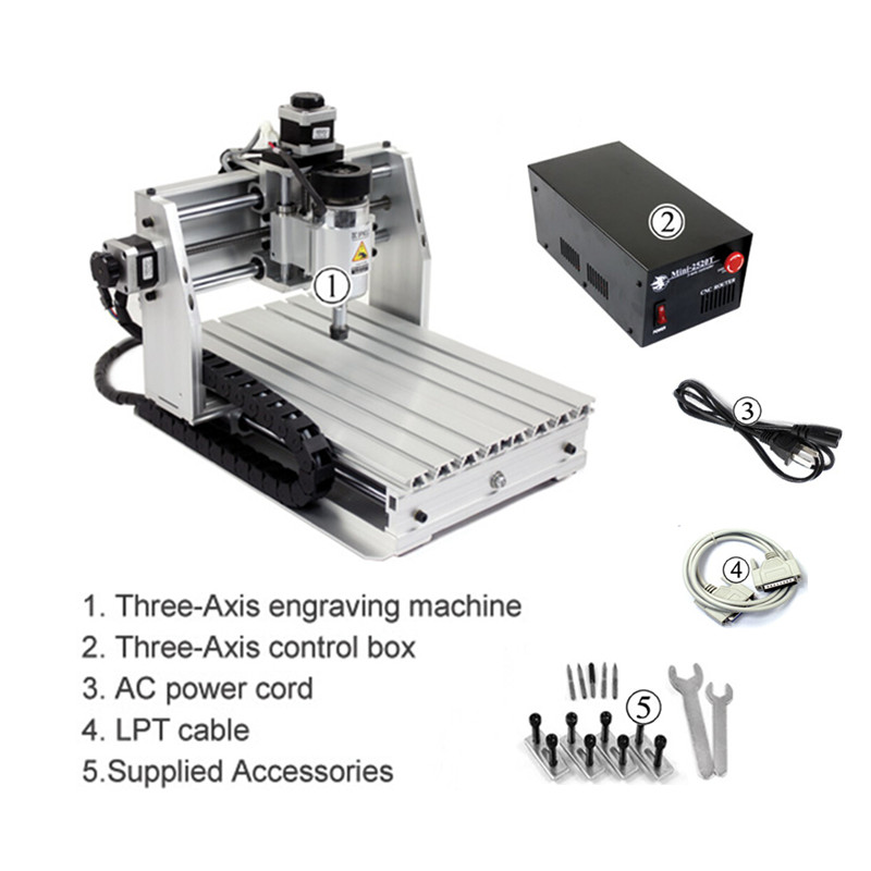 Cheap Mini Hobby LY MINI CNC Woodworking Router 2520T Wood Planner For Milling Machine Update 2520T