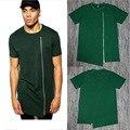 Cierre Frontal de largo T Shirt Men Llanura Verde Extended Zip camiseta Irregular Sólido Algodón Hiphop Tyga Swag Camisetas de Manga Corta estilo