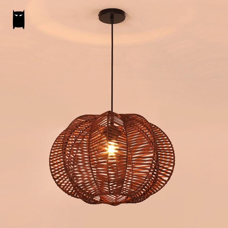 Coffee Wicker Rattan Shade Pumpkin Pendant Light Fixture Japanese Asian Vintage Industrial Retro Creative Hanging Ceiling Lamp