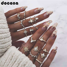 Docona Retro Inaly Crystal Rhinestone Star Drop Triangle Knuckle Midi Ring Set For Women Punk Charm Geometry Gold Color Ring7021