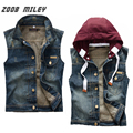 Men's Casual Detachable Hooded Cotton Denim Vest Fashion Cowboy Ripped Jeans Waistcoat Plus Size M-2XL Vintage Sleeveless Jacket
