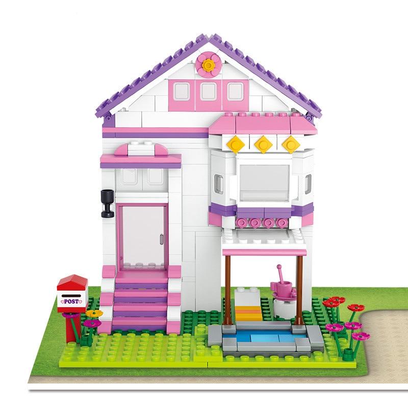 SLUBAN 0532 Friends Building Blocks Dream Series Pool Villa Kids DIY Assembled Brick Toys Christmas Gift