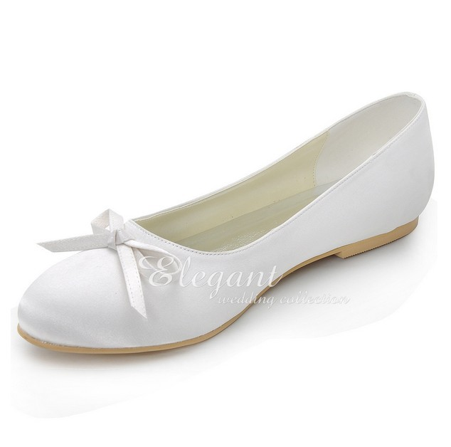 1b6dc8231c82 White Round Toe Flat Heel Wedding Dress Shoes Bridesmaid Shoes Bridal Dress  Shoes Bowknot Banquet Evening Party Dancing Shoes