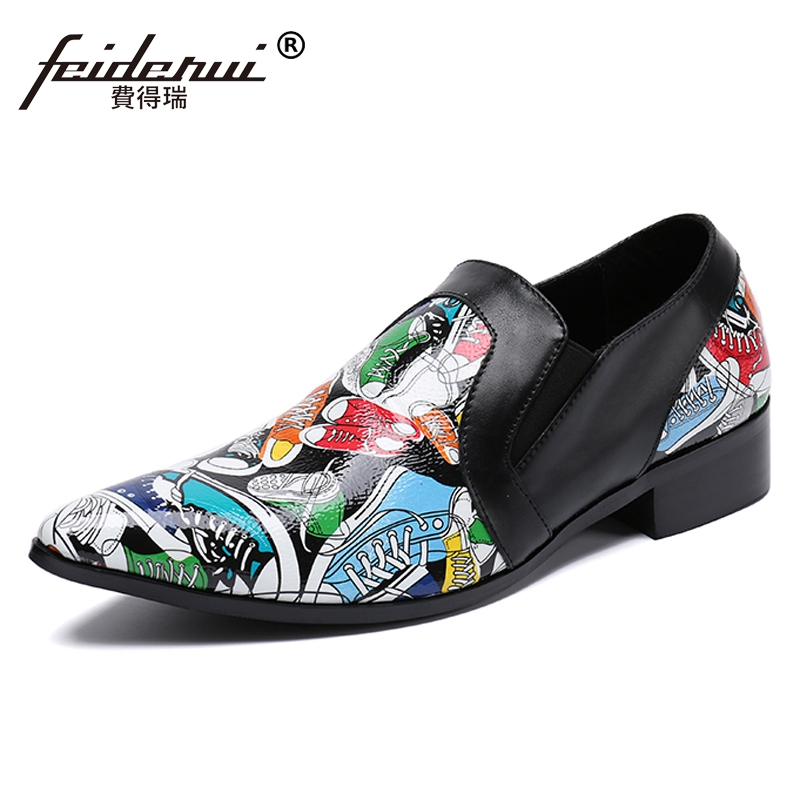 Plus Size Fashion Pointed Toe Slip on Man Loafer Shoes Italian Genuine Leather Height Increasing Wedding Party Men's Flats SL88 handmade mens dress shoes italian leather studded flats loafer shoes men casual shoes fashion spiked loafer 35 46