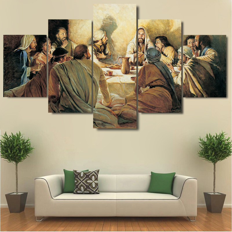 LAST SUPPER - HQ 5-PIECE ART CANVAS PRINT_