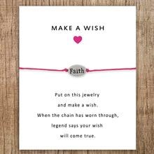 Faith Angel Joy Best Card Charm Bracelets Mom Mother Daughter Grandma Grandpa Sister Father Women Men Jewelry Friendship Gift