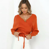 KIYUMI Sweater Women Front and Rear V neck Sweater Thick Sexy 2019 Knit Wear Ruffles Waist Lace Up Autumn Winter Orange Sweaters