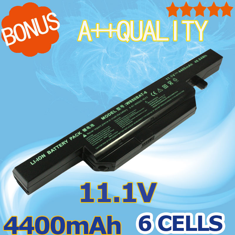 6 Cells 4400mAh Laptop battery for Clevo W650BAT-6 6-87-W650-4E42 K590C-I3 K610C-I5 K570N-I3 K710C-I7 G150S K650D K750D K4 K5 P4 laptop new 90% lcd top cover lcd front bezel for hasee k590c k610c k650d k640e for clevo w650sr w655sr w650sz w650sj w656sc