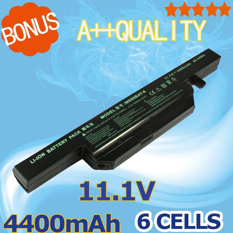 6 células 4400 mAh batería del ordenador portátil para Clevo W650BAT-6 6-87-W650-4E42 K590C-I3 K610C-I5 K570N-I3 K710C-I7 G150S K650D K750D K4 K5 P4