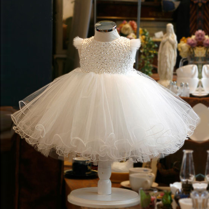 Girls White Gold Sequin Bow Princess Style Flower Girl Party Christening Dress