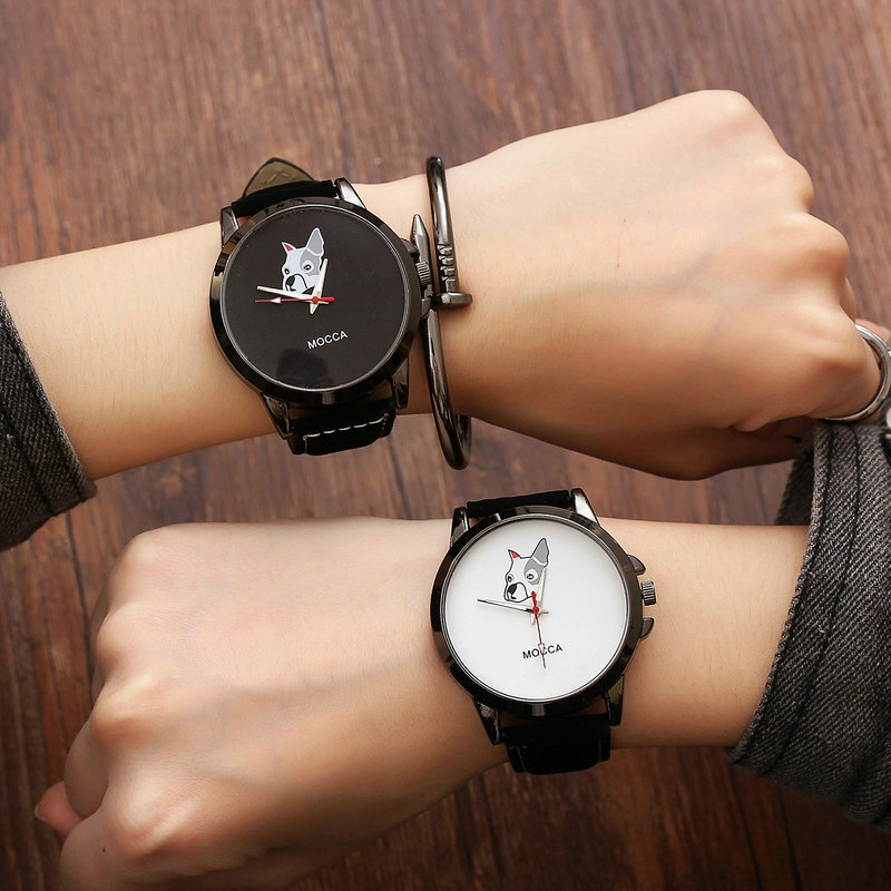 Fashion Cute MOCCA Dog Leather Shockproof Black Quartz Watch Wristwatches For Women Ladies Boy Young