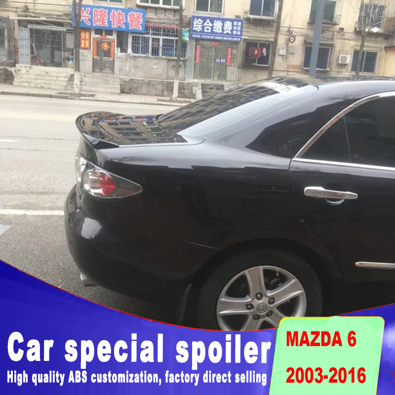6 spoiler for 2003 to 2016 ABS material high quality primer or black white color paint for Mazda 6 spoiler by rear trunk spoiler6 spoiler for 2003 to 2016 ABS material high quality primer or black white color paint for Mazda 6 spoiler by rear trunk spoiler