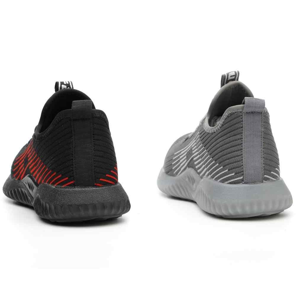 JACKSHIBO nefes güvenlik iş ayakkabısı erkekler için erkek çelik burun botları inşaat güvenlik ayakkabıları güvenlik botları çalışma Anti-Smashing