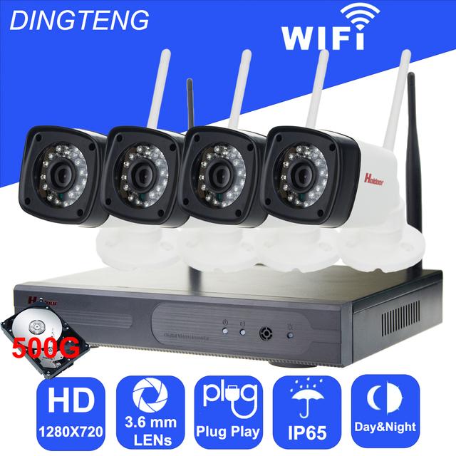 Holdoor 4CH Sistema de Seguridad de vídeo 500 GB HD 720 P CCTV Cámara de Red Inalámbrica IP A Prueba de agua IP65 de video Vigilancia para la casa