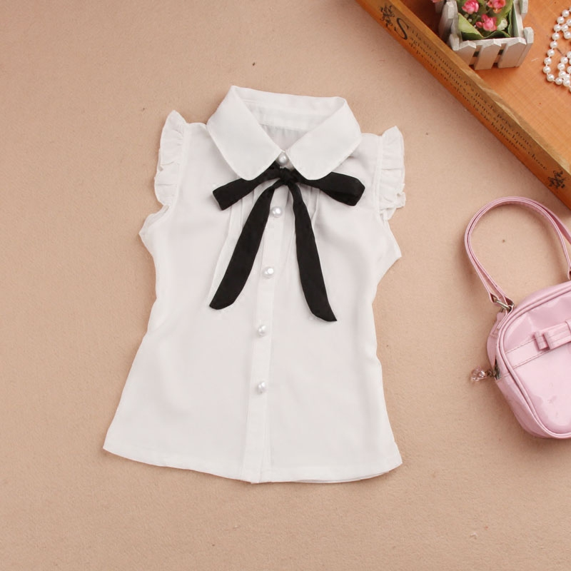 Girls Summer Top 2018 Children Sleeveless White   Blouses   Black Bow   Shirts   for Teenage School Girl Chiffon Lace   Blouse   2-16 Years