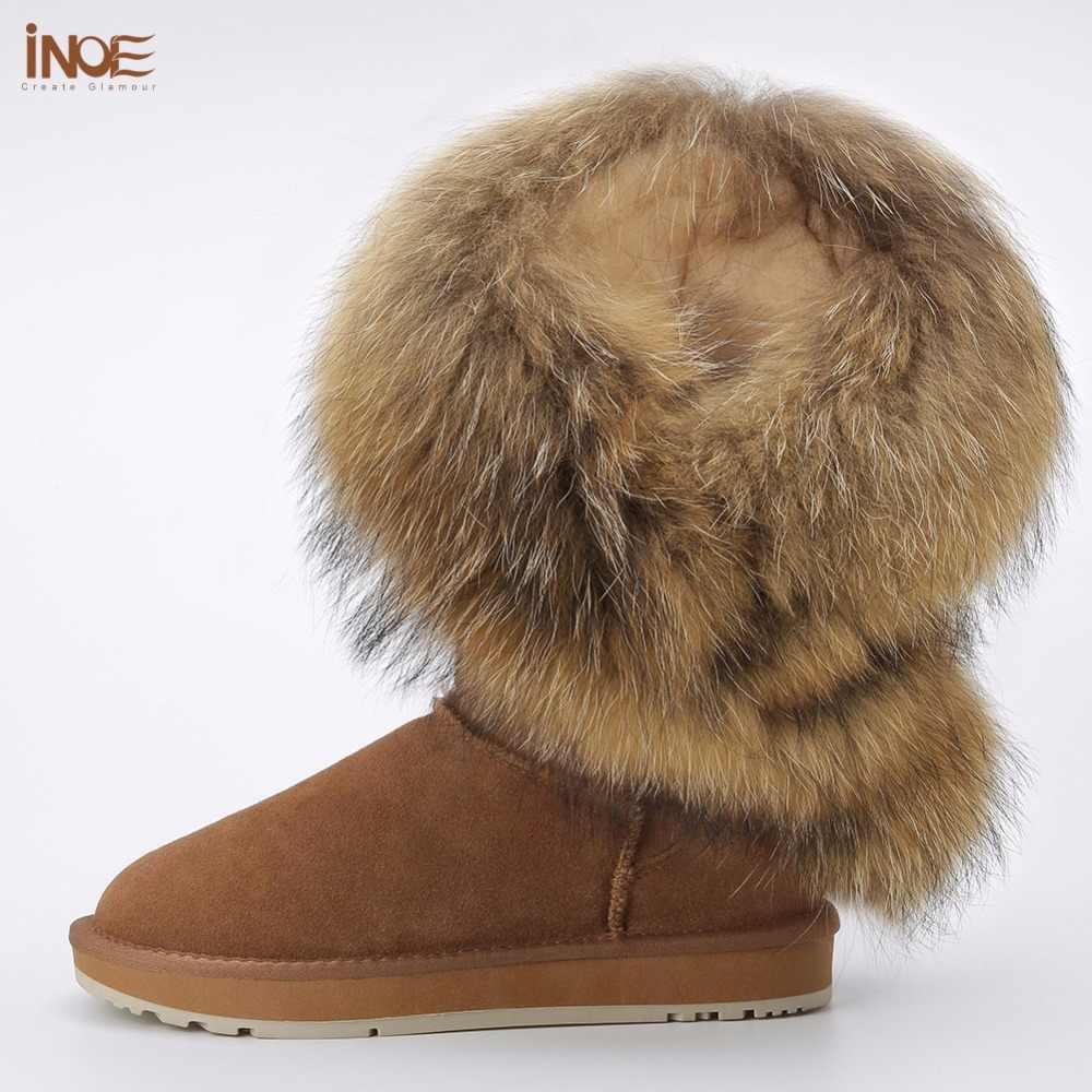 INOE แฟชั่นสไตล์ใหม่ขนสุนัขจิ้งจอกธรรมชาติ Tassels สตรีฤดูหนาวหิมะรองเท้าผู้หญิงหนังวัวหนังฤดูหนาวรองเท้าสีดำสีน้ำตาล