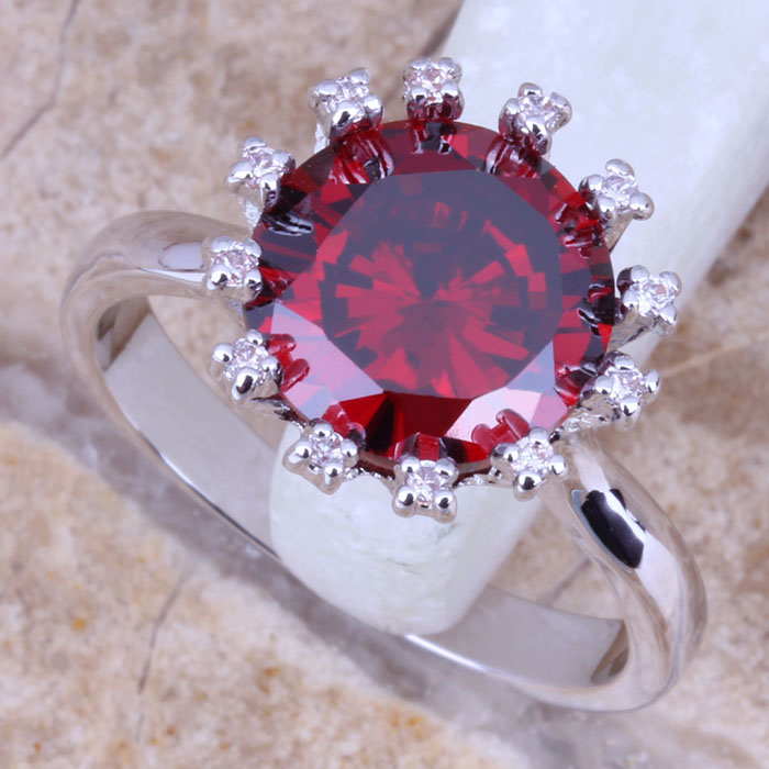 US $5.99 |Good Looking Red Garnet White Topaz 925 Sterling Silver Overlay Women's Fine Jewelry Ring Size 6 / 7 / 8 / 9 Free Gift Bag R1017-in Rings from Jewelry Accessories on AliExpress