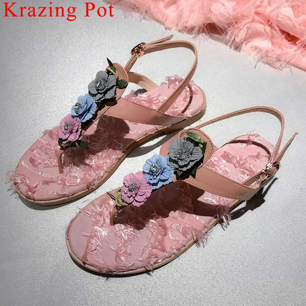 Krazing Pot fairy princess style buckle strap women sandals peep toe flat with colorful flowers cow leather shoes L30Krazing Pot fairy princess style buckle strap women sandals peep toe flat with colorful flowers cow leather shoes L30