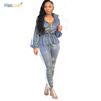 HAOYUAN Casual Two Piece Set Top And Pants Women Outfits Long Sleeve Ruffle Zipper Suit Streetwear Side Stripe Silver Tracksuits