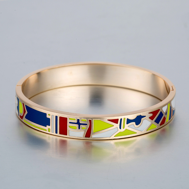 Bracelets For Women Multi Color Geometric Art Enamel Bangle Gold Plated Stainless Steel Snap Bracelet Pulseiras Feminina